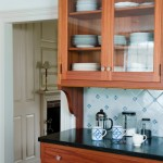 Kitchen hutch with delft tile backsplash
