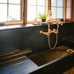 Salvaged soapstone sink with drainboards