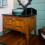 Tiger maple vanity with Indikoi vessel sink