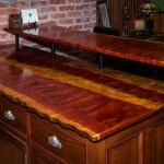 Bubinga wood top with live edge